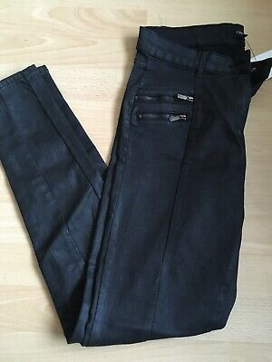 Next Ladies Black Coated Denim Skinny Trousers Jeans Bnwt Size 12 Regular