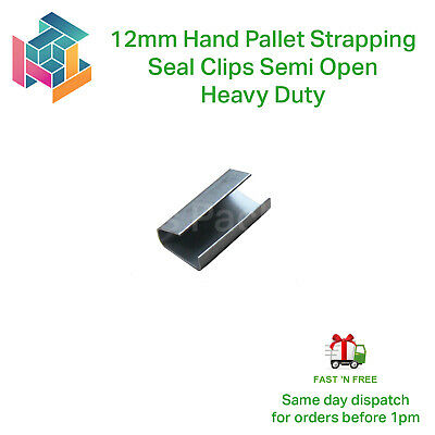 12mm Metal Hand Pallet Strapping Banding Seal Clips Semi Open -Heavy Duty