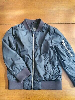 EUC H&M KIDS Boys Girls Bomber Jacket Size 3-4 Black