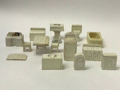 Lot of 16 Primitive Wooden Chunky Dollhouse Furniture Kitchen Bathroom