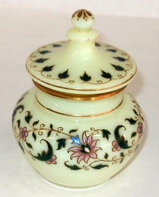 Antique Hand Painted Custard Glass Jar And Lid