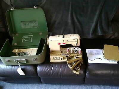 Vintage Swiss Bernina 730 Record Sewing Machine With Case And Accessories - Ins.