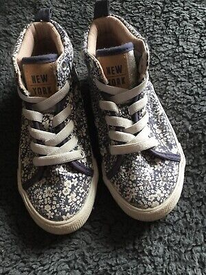 Girls Floral High Top Trainers / Pumps Slip On Size 10 Eur 29 Us 11.5