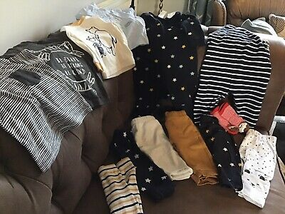 BUNDLE Baby Boys Clothes, 6-9/9-12 Months, Trousers, Dungarees,T-shirts,M&S,H&M