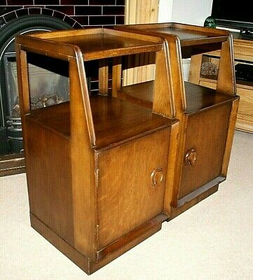 A Lovely Pair Of Art Deco Style Oak Bedside Cabinets, Good Condition
