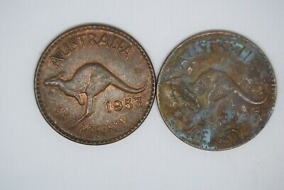 Australia 1d penny 1953 and 1943