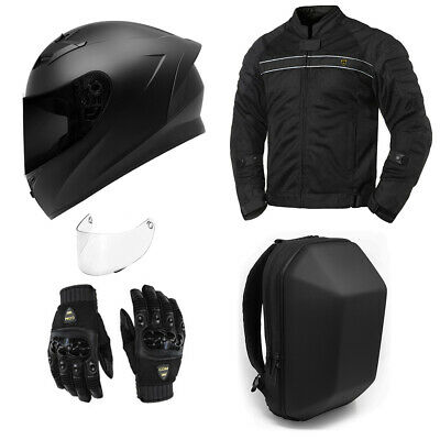 MOTORCYCLE SAFETY GEAR BUNDLE -- Bluetooth Helmet Jacket Gloves Backpack