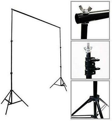 Fodoto 8x10 FT Telescopic Backdrop Stand Support Kit w/1pc 6x9ft Black Backdrop