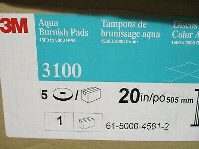 "3M  3100 Aqua Burnish  20"" Floor Buffer Pad  Box of 5  New Old Stock"
