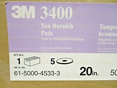 "3M  3400 Tan Burnish  20"" Floor Buffer Pad  Box of 5"