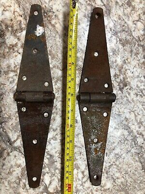 "2 Vintage 12"" Iron Strap Hinges Barn Door Antique Garden Gate Rusty"