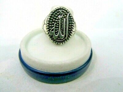 Solid 925 Silver Fine Signet Allah Men's Ring 8 3/4