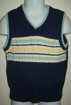 George Boys Sweater Vest Size 4T Dark Blue Yellow Stripes Casual School Holiday