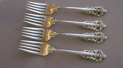 """Grande Baroque by Wallace  Four (4)   Sterling Silver 6-1/2"""" Salad Forks"""