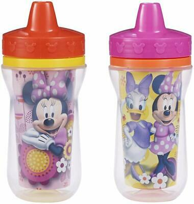 Minnie Mouse 2 Pack Insulated Sippy Cups Spill Proof Toddler Baby Girls NEW
