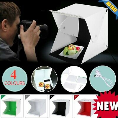 Foldable Portable Photo Mini Light Box Studio Tent Home With LED Lights AU ni