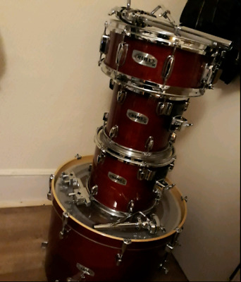 Mapex M Series Drum Kit: 22, 10, 12 & 14 Snare with Cases and Holders - Used!