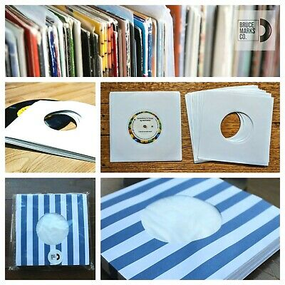 40 Blue Stripes & Whites Paper Record Sleeves For 7 Inch Vinyl Cntr Hl (45 Rpm)