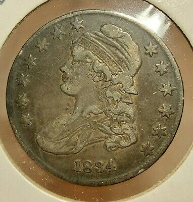 1834 Liberty Bust Half Dollar(50 Cent)Silver Coin Very Fine Plus (Vf+) Condition