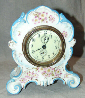 Antique Small Porcelain Mantel Clock Beveled Glass Dial Unknown Maker