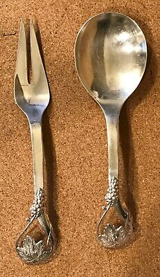 Frank Whiting Sterling Silver Salad Serving Set in Grape and Leaf Pattern