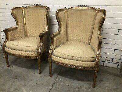 Antique French Pair Of Gilded Armchairs C.1900.