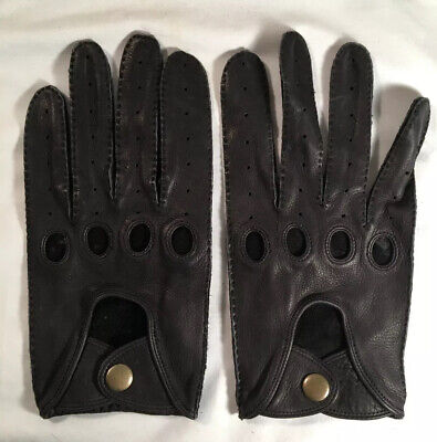 Mens Danier Large Unlined Black Leather Driving Gloves