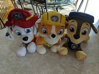 Paw Patrol Fire Red Marshall Yellow Rubble Blue Chase Talking Plush Dog Lot