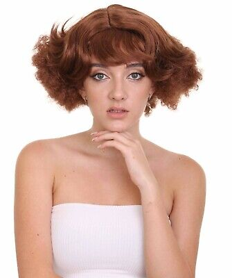 80s 90s Pin Up Babe Wig with Curly Bangs Hair Cosplay Party Fancy Dress HW-2195