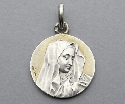 French, Antique Religious Silver Pendant. Saint Virgin Mary. Sterling Medal.