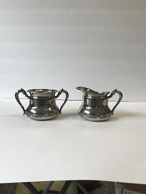 Forbes Silver Co. U.S.A. Quadruple Silver Plated Creamer & Sugar Bowl .