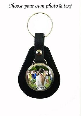 Personalised Photo & Text On A Leather Fob Keyring Birthday Key Ring Gift N442