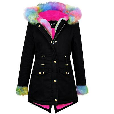 Kids Girls Rainbow Faux Fur Black Hooded Parka School Jackets Outwear Coats 5-13