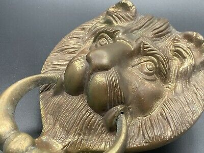 Old Lion Door Knocker Lions Head Brass Vintage Retro Antique Style Face