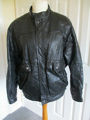 Retro St Michael mens fully lined black leather jacket - UK size 38-40