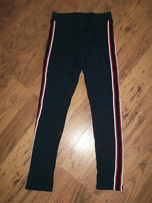 Girls Casual Black Leggings With Strip Down the Side. Age 8-9 Years By F&F
