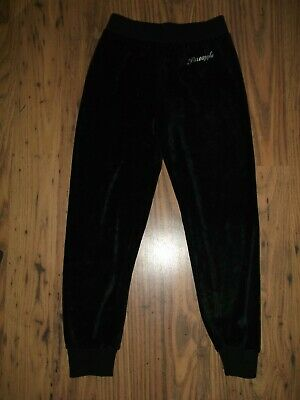 Girls Black Track Suit Bottoms Velour, Age 7-8 Years By Pineapple