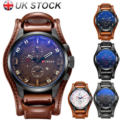 Curren Mens Quartz Military Chronograph Leather Waterproof Sports Wrist Watch UK
