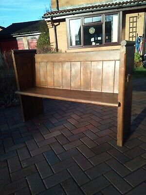 Rustic Pitch Pine Victorian Church Pew Settle Monks Bench Brass umbrella holders