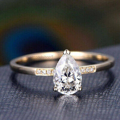 1.90 Ct Near White Pear Cut Real Moissanite Yellow Gold Engagement Ring