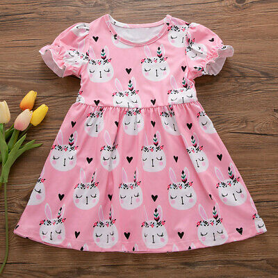 Toddler Kids Baby Dress Girls Summer Easter Bunny Princess Dress Clothes Outfits