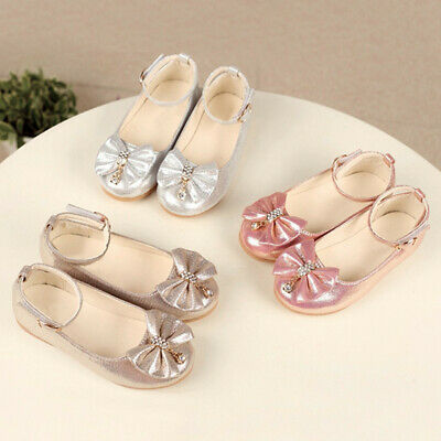 Children Infant Kids Shoes Baby Girls Bowknot Crystal Dance Shallow Single Shoes