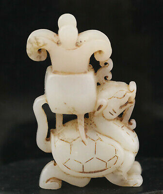 Old Chinese natural hetian jade hand-carved dragon cup statue