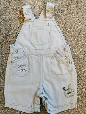 Baby Boys Blue Cotton Linen Dungarees Next 6-9 Months Exc Cond