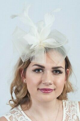Cream Feather Fascinator Ladies Fascinators Race Day Headpiece Wedding Guest