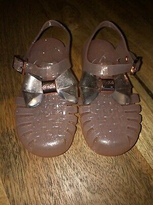 Ted Baker Girls Pink, Gold Bow Jelly Sandals. Uk 7 RRP £32