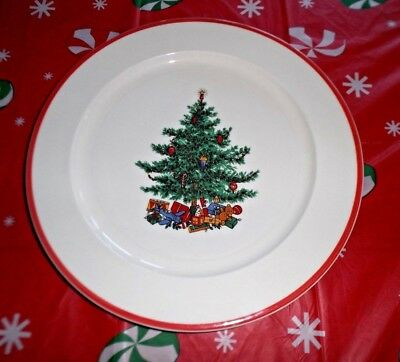 Taylor Smith Taylor Holly Spruce Tree Dinner Chop Plates 11 3/8 Inches Red Trim