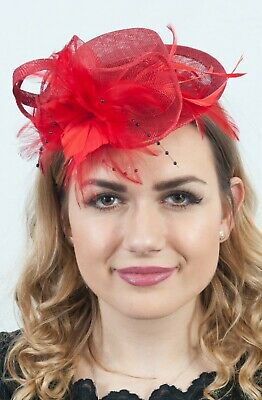 Small Red Fascinator Ladies Mini Top Hat Feather Sinamay Headpiece Wedding Races