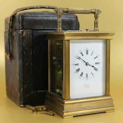 PETITE SONNERIE FRENCH CARRIAGE CLOCK circa1880 original travel case key AMAZING