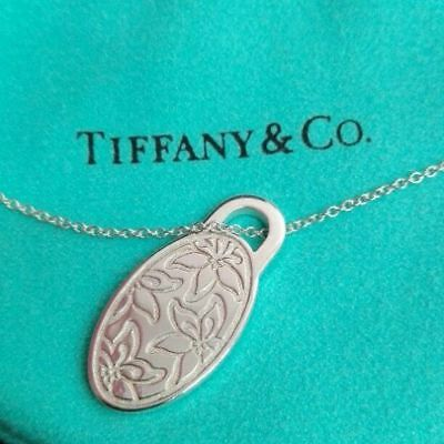Tiffany & Co Sterling Silver Lilies Pendant Necklace WARRANTY CARD Pouch Genuine
